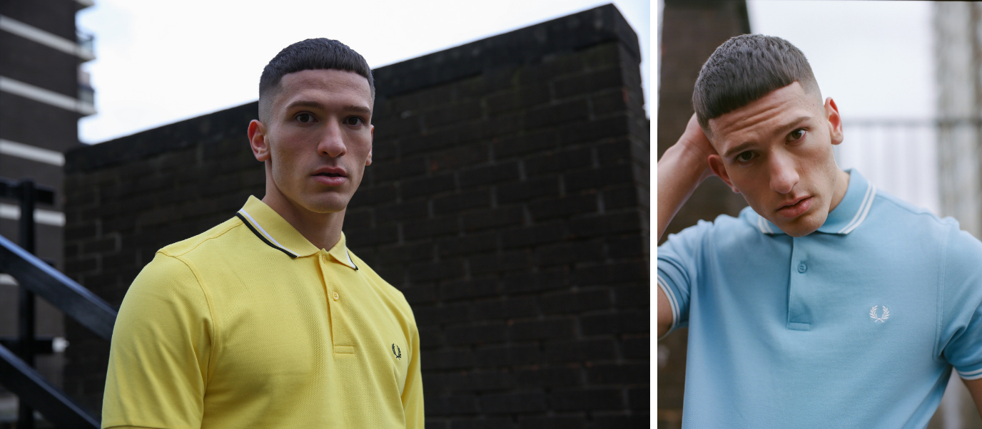 Polo Fred Perry bleu ciel_jaune